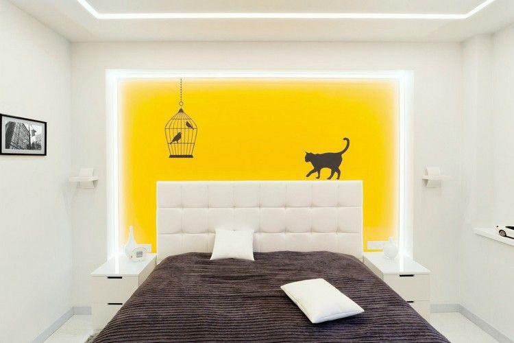 Couleur de peinture pour chambre tendance en 18 photos for Tableau jaune et gris