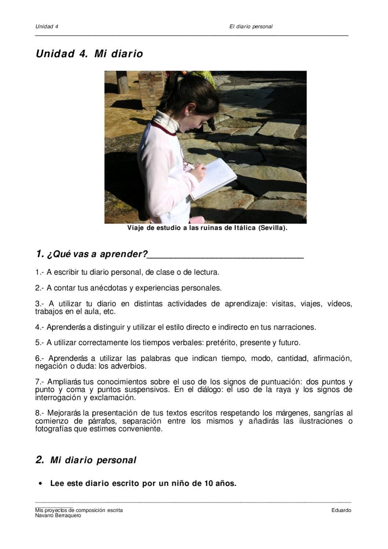 El diario personal  Secuencia didáctica de trabajo del diario personal para niños-as de Primaria.