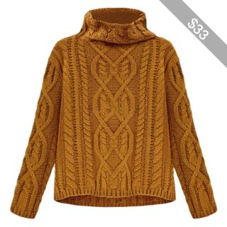 Blackfive Cable Knit High Neck Knitted Pullover Jumper