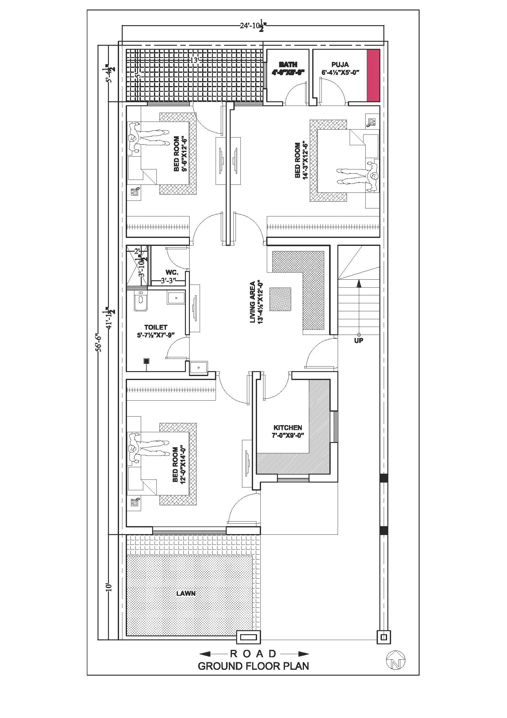 24 56 Ground Floor Second Option Ground Floor Plan House Map Duplex House Plans