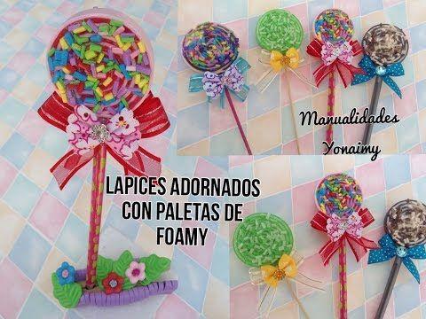 Lapices decorados con paletas de foamy o goma eva - Manualidades con plumas ...