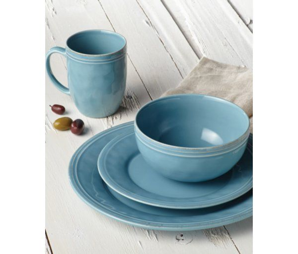 Cucina Agave Blue 16-Pc. Set, Service for 4 #casualdinnerware