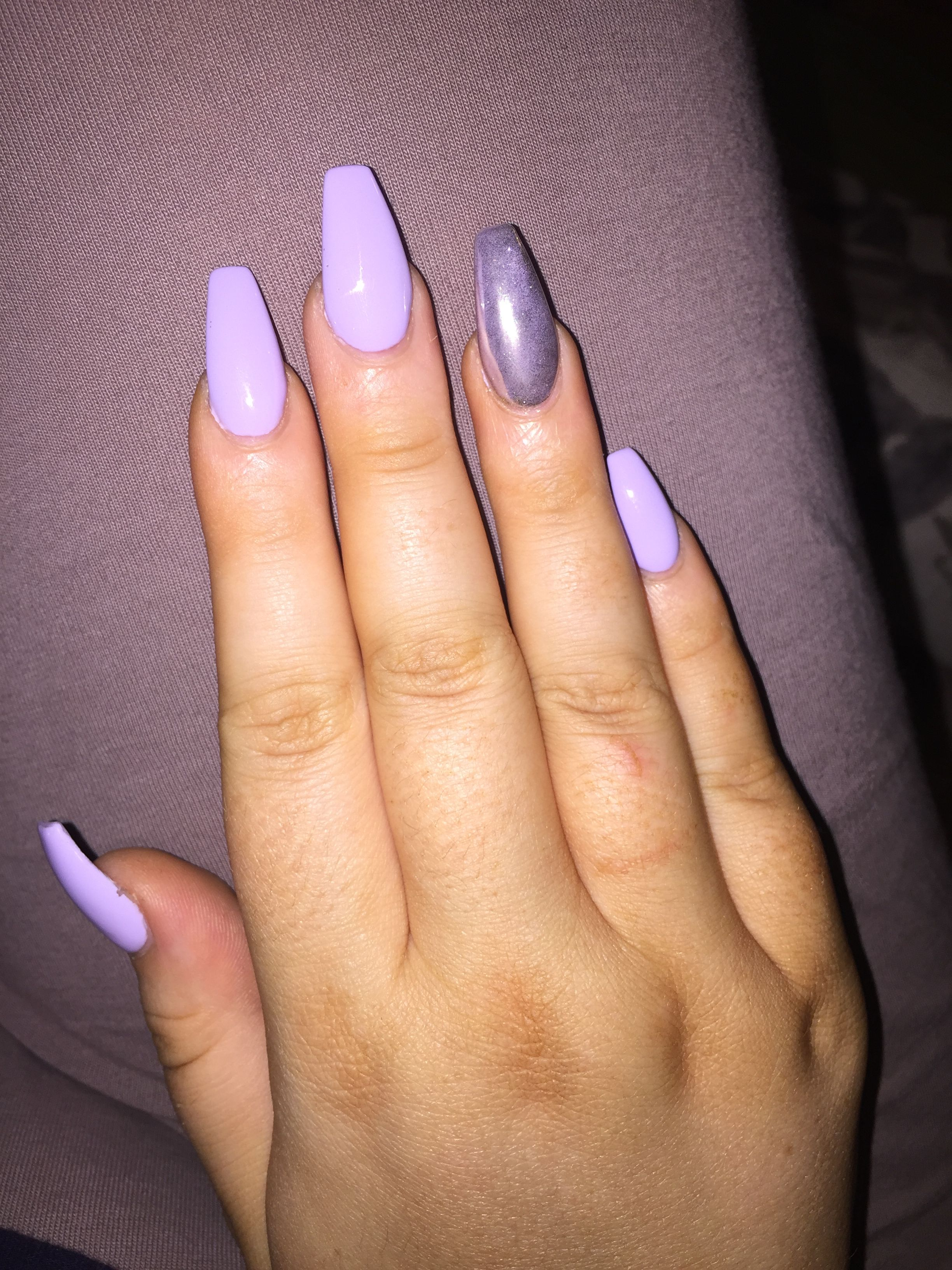 Lilac Chrome Summer Acrylics With Images Lilac Nails Gel