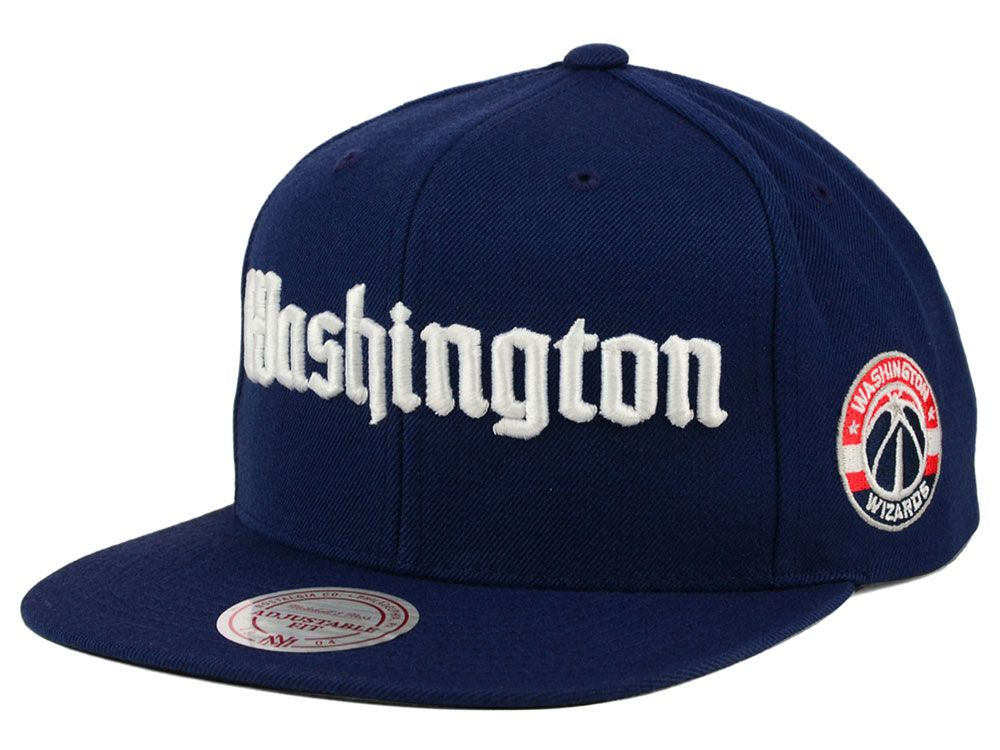 6899de63fd307 Washington Wizards Mitchell and Ness NBA Gothic City Snapback Cap ...