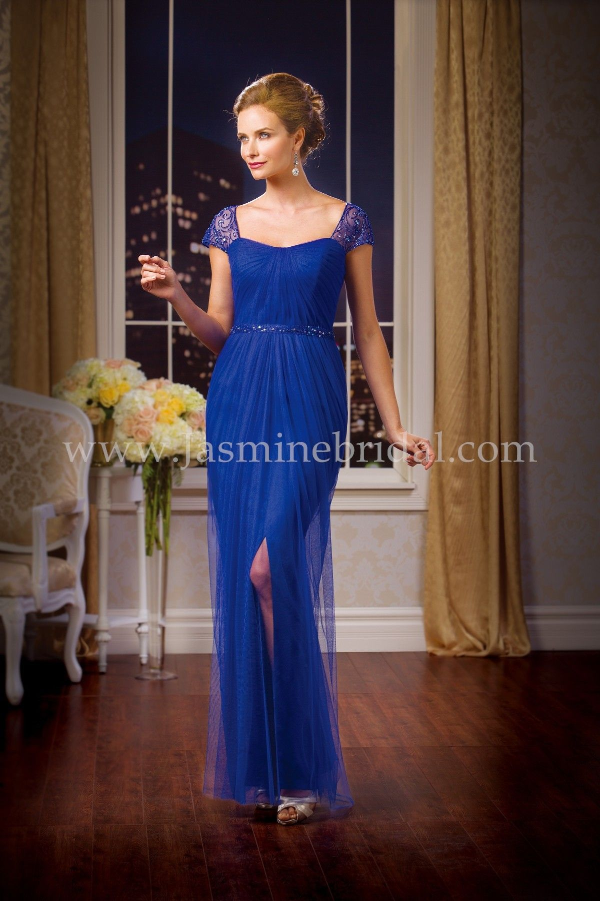 """Jasmine Bridal Jade Couture Style K178066 in Lapis // Floor length, Available in tea(30"""") or knee(25"""") length."""