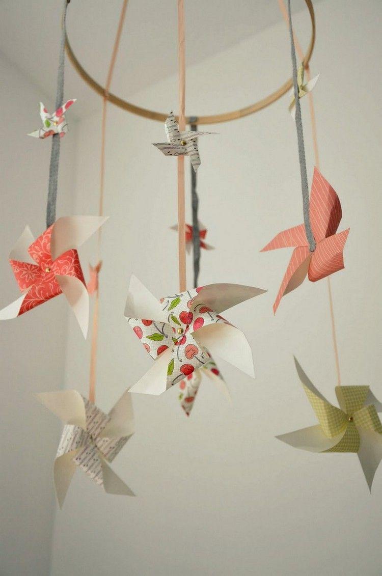 Papier Windrädchen Falten Für Eine Mobile Für Die Kleinen Menschen