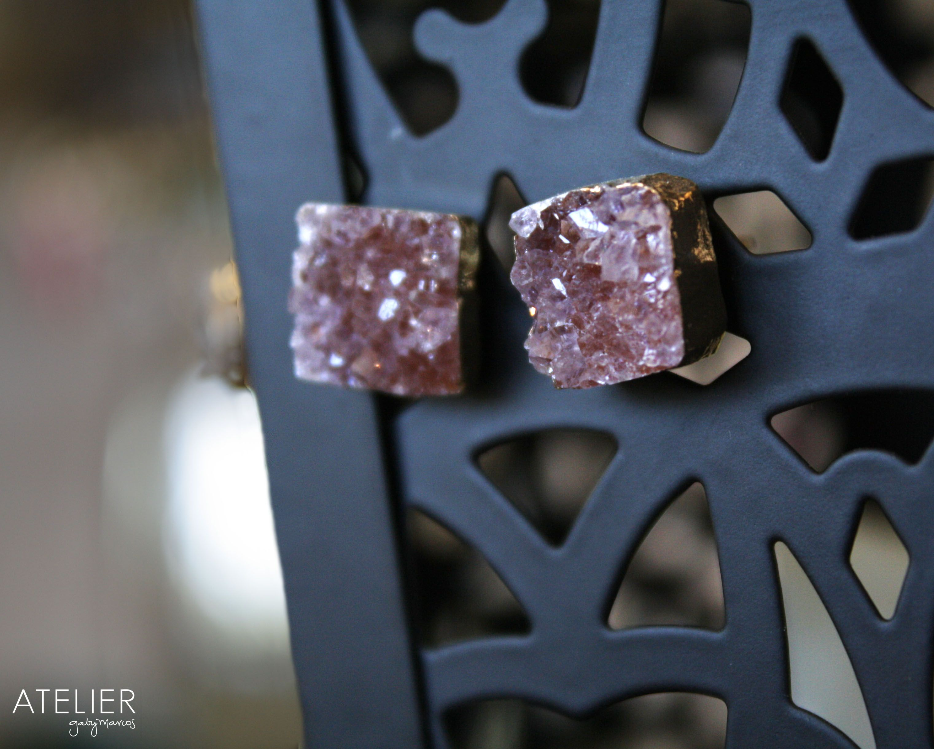 Natural drusy studs!! <3 Get yours at: www.facebook.com/ateliergabymarcos