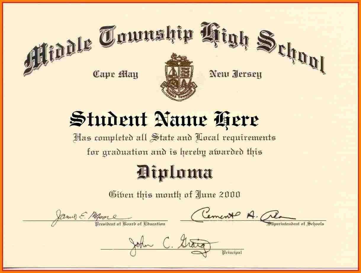 High School Diploma Template Word Free Download Graduation