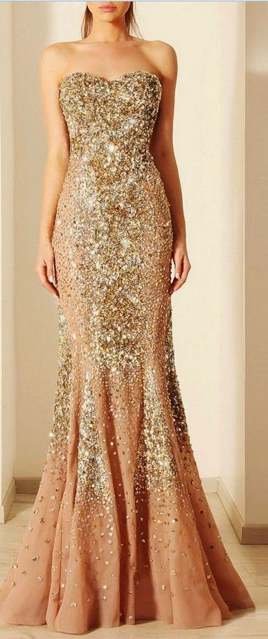 Beautiful Champagne Color With Gold Diamonds Prom Dressesmermaid