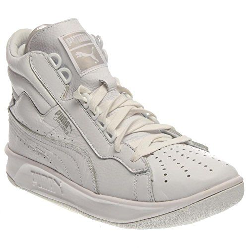 PUMA Mens Challenge Mid  This Hi Top tennis shoe is a retro style that has  come back from the archives. Leather upper with a gum bottom rubber sole. e0e9a9ece