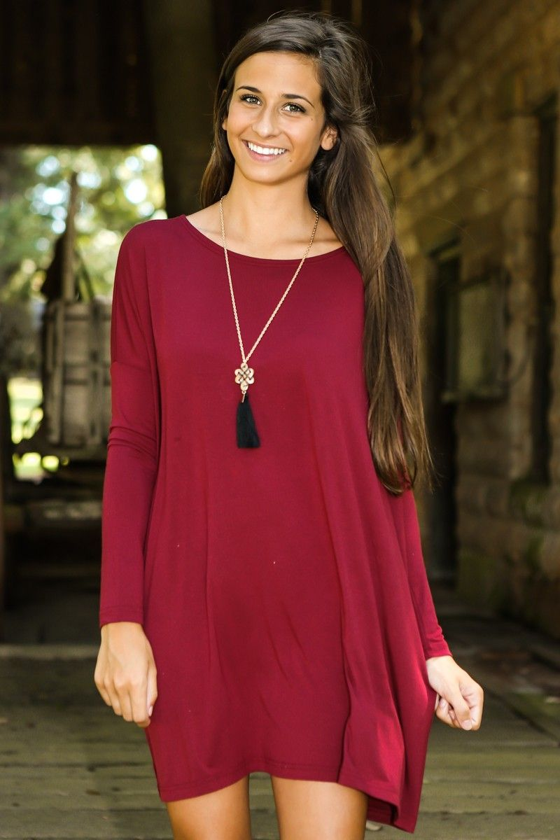PIKO: Just About Anywhere Tunic-Crimson   The Red Dress Boutique ...
