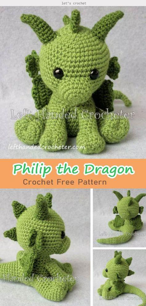 Philip the Dragon Crochet Free Pattern #crochetanimalpatterns