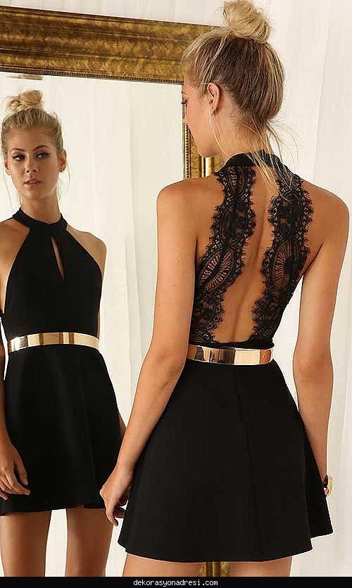 Nice Sirti Acik Elbise Modelleri 2016 Siyah Elbiseler Elbise Modelleri Elbise