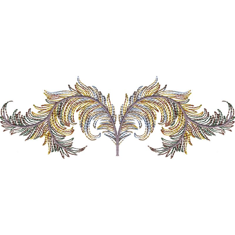 Fancy Variegated Feather Border Embroidery Borders