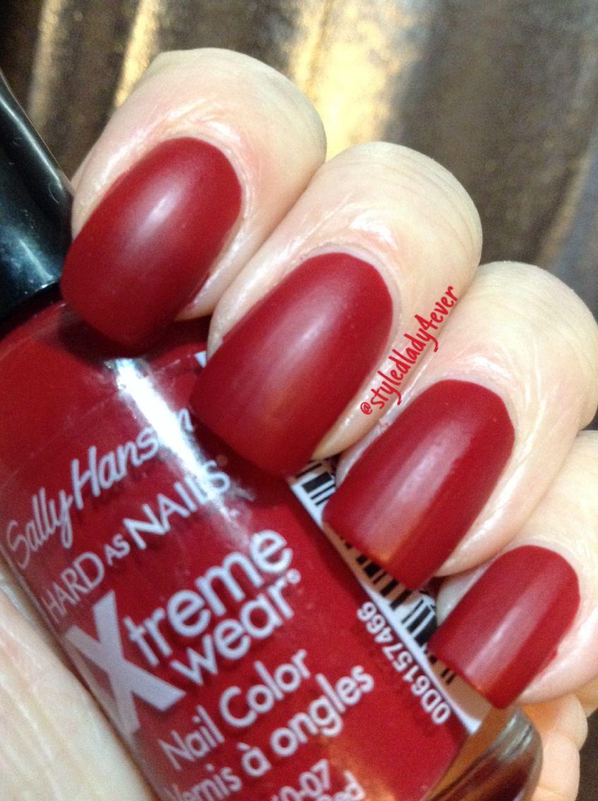 Cherry Red Matte Nails #sallyhansen