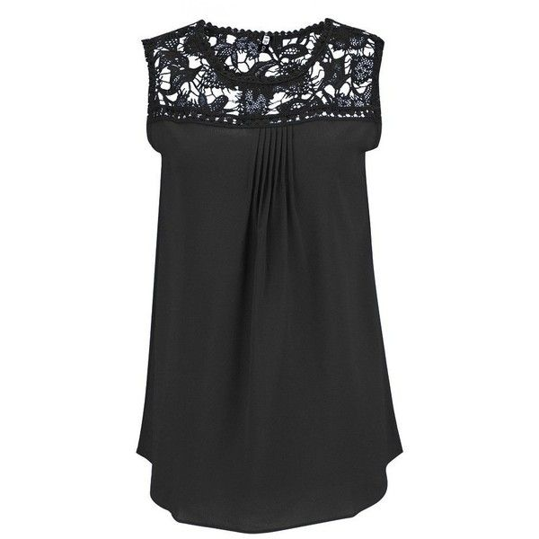 d9b99907a8663 AvaCostume Womens Sleeveless Chiffon Lace Vest Casual Blouse Tank Top ( 12)  ❤ liked on Polyvore featuring tops