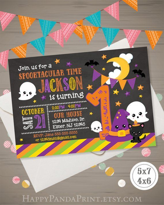Halloween Birthday Invitation Kids 1st Party C