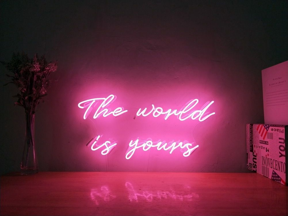 The World Is Yours Custom Dimmable Led Neon Signs For Wall Decor Customization Options Color Size Dimming Wall Neon Sign Bedroom Neon Signs Led Neon Signs