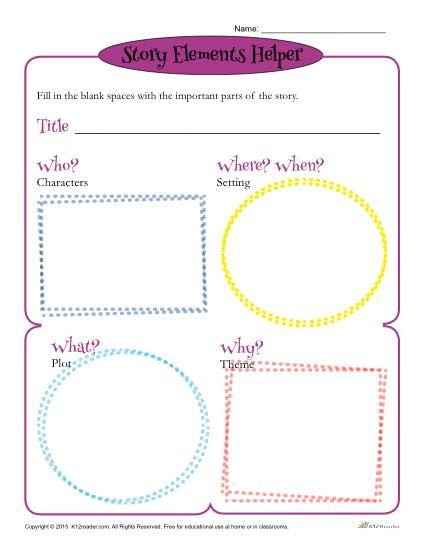 Story Elements Helper Form Template For Students Oasis
