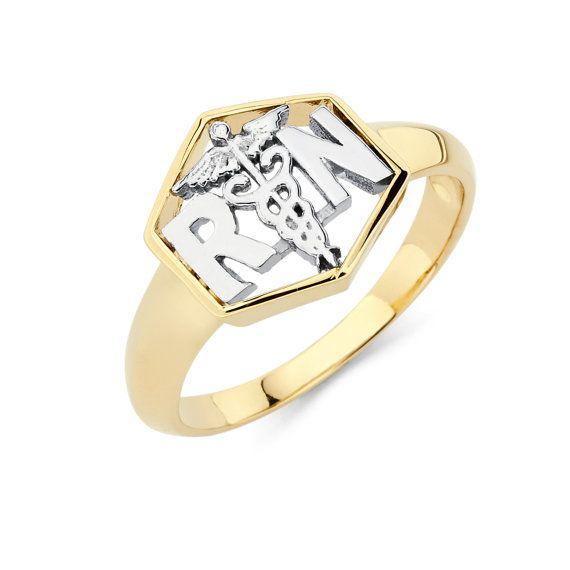 Two Tone 10k Yellow Gold Diamond Studded Treble Clef Music Ring