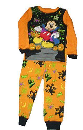 Disney Mickey Mouse Halloween Girls  Boys 2T pajamas pjs set GLOW in the DARK