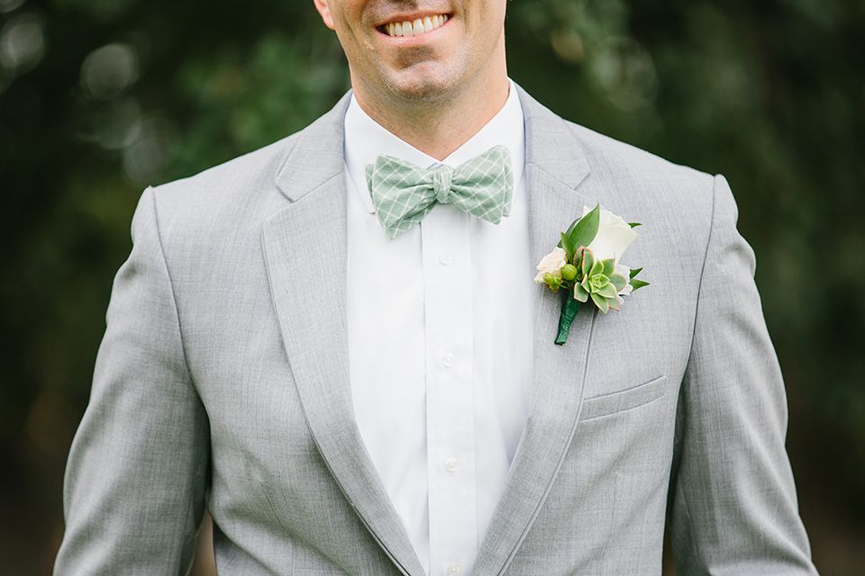 Summer Wedding In Upper Las Virgenes Canyon Groom Heather Grey Suit With White Dress Shirt And