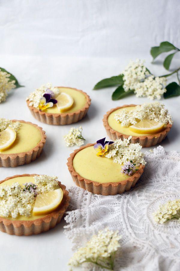 Elderflower Lemon Tarts (vegan & gluten-free) - Nirvana Cakery