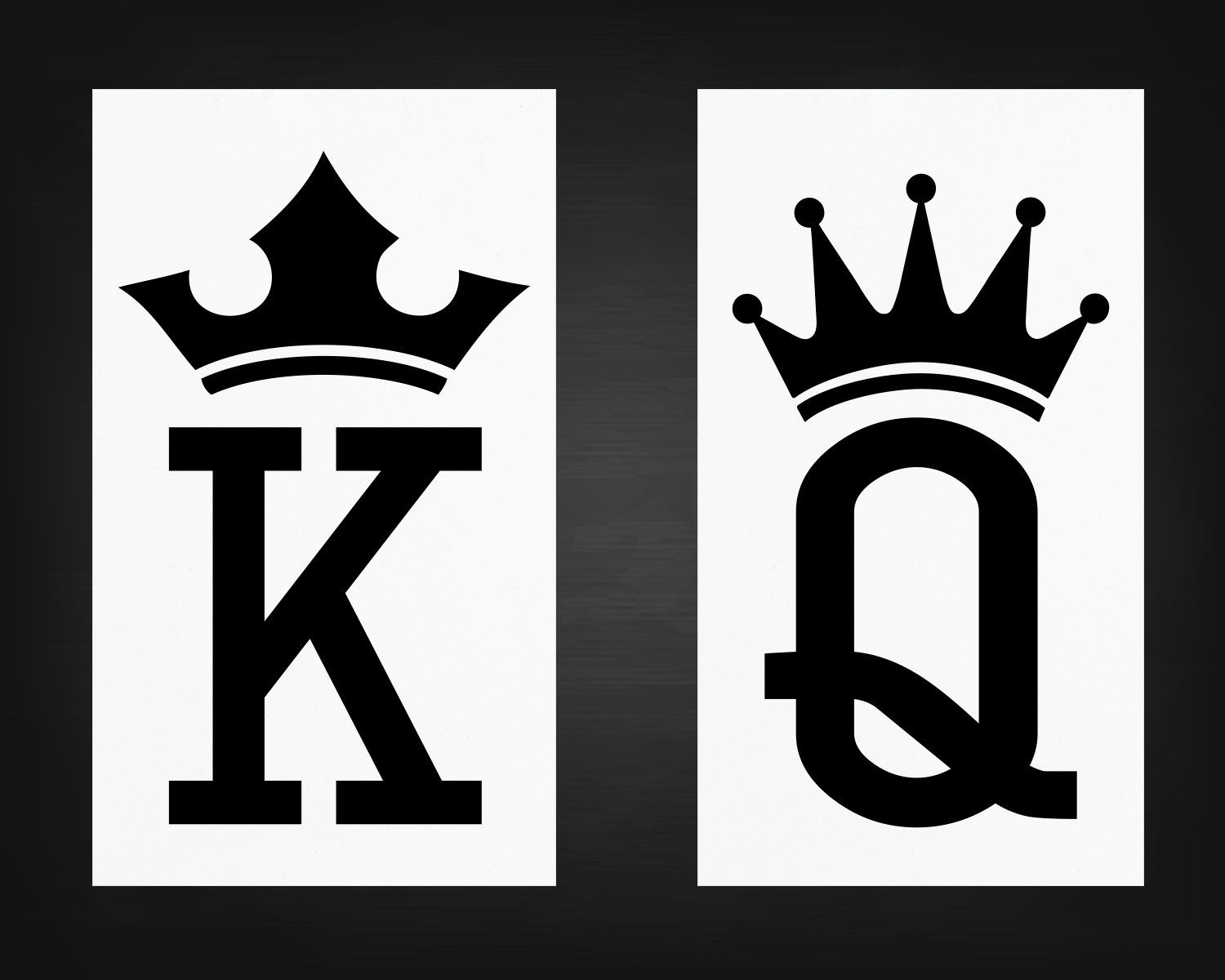Two pack king queen decals crown stickers couples gift wedding decor