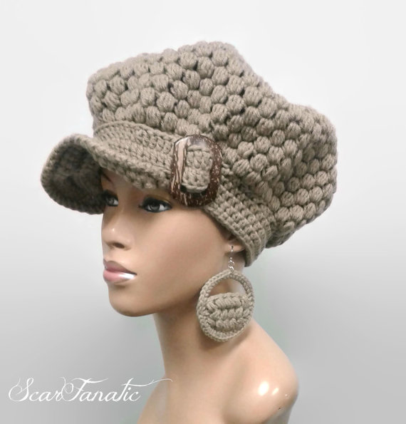 MADE TO ORDER Taupe  Tan puff stitch Newsboy Hat  Beanie with brim strap   coconut wood buckle and fr 31b60c62a088