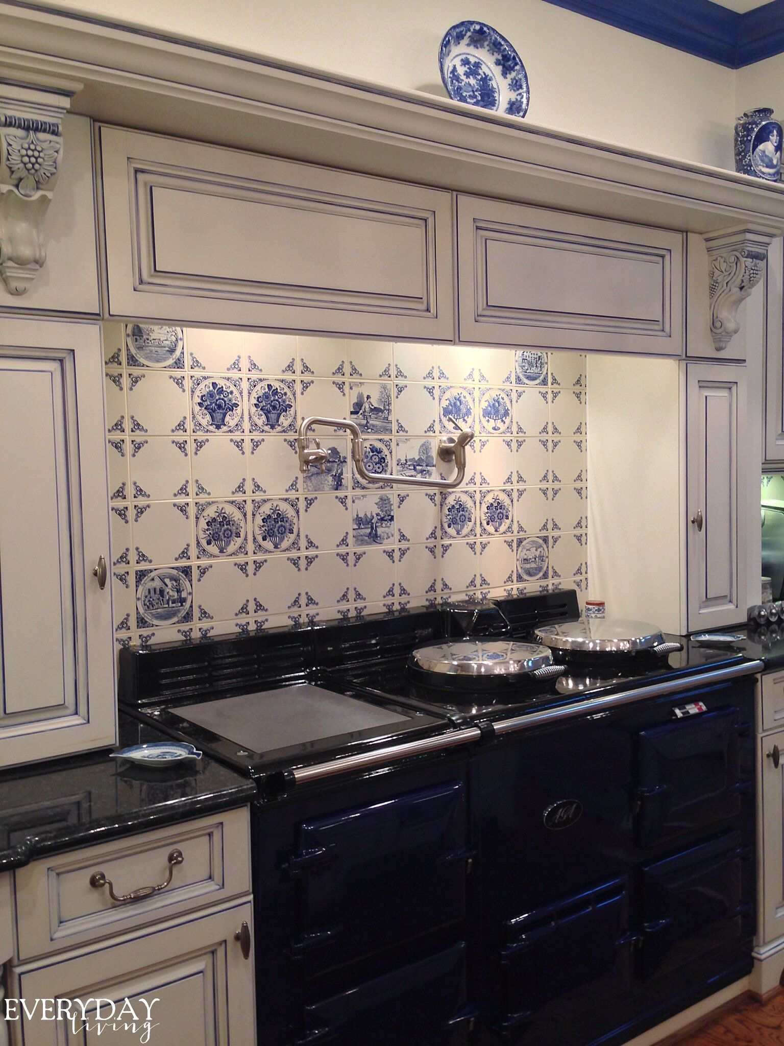 blue instead of sepia) delft tiles, kitchen | My Perfect Kitchen ...
