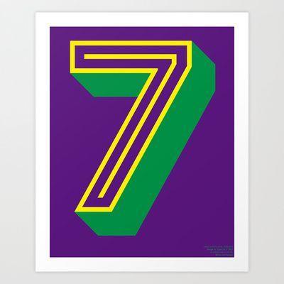 """Pop Type series: """"7"""" Art Print by TypoLife"""