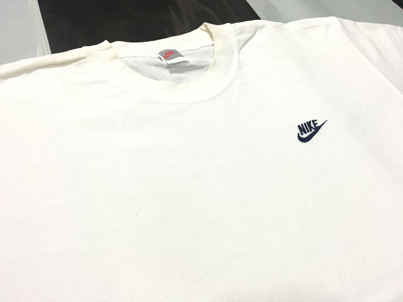 Vintage Nike Shirt Nike Swoosh Logo Minimal Off White Size L
