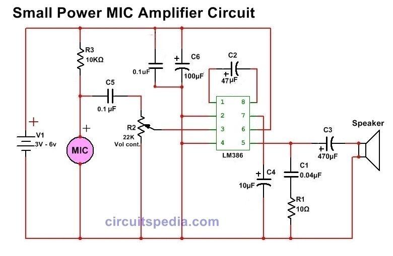 Mic Speaker Amplifier Circuit Diagram Small Power In 2020 Speaker Amplifier Circuit Diagram Amplifier