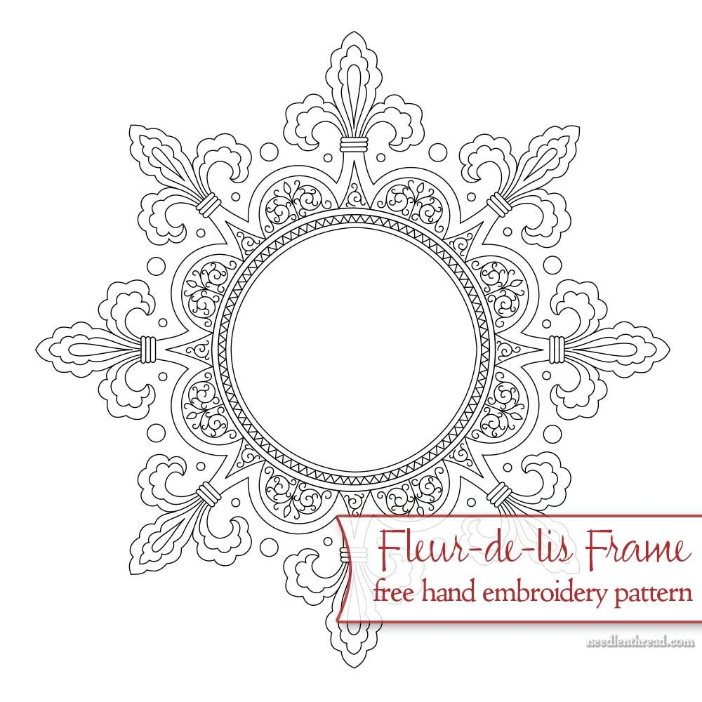 Fleurdelis frame free hand embroidery pattern hand embroidery