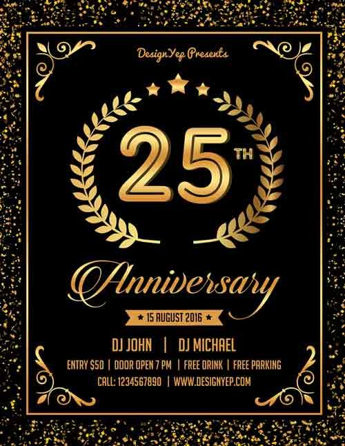 free anniversary party flyer psd template http