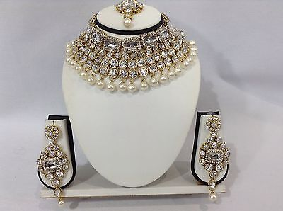 Indian Bollywood Costume Jewellery Set Choker Stone Pearl Gold Party