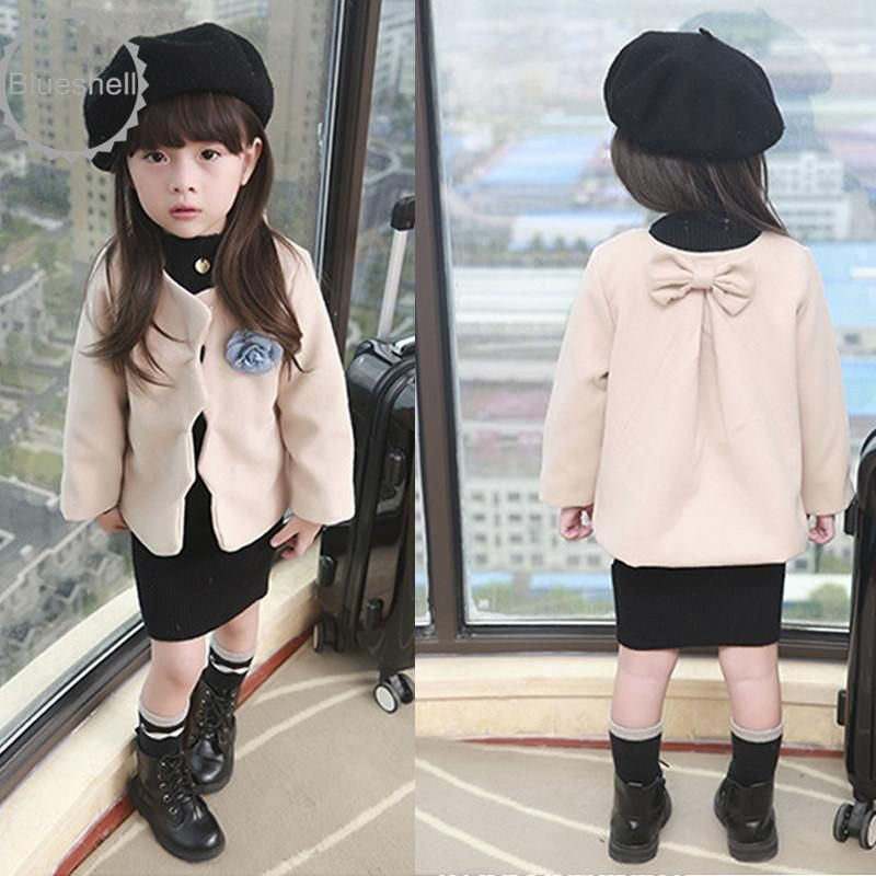 Girls kids beautiful sweater jacket coat girls Flower Corsage thicken coat 2-7Ys
