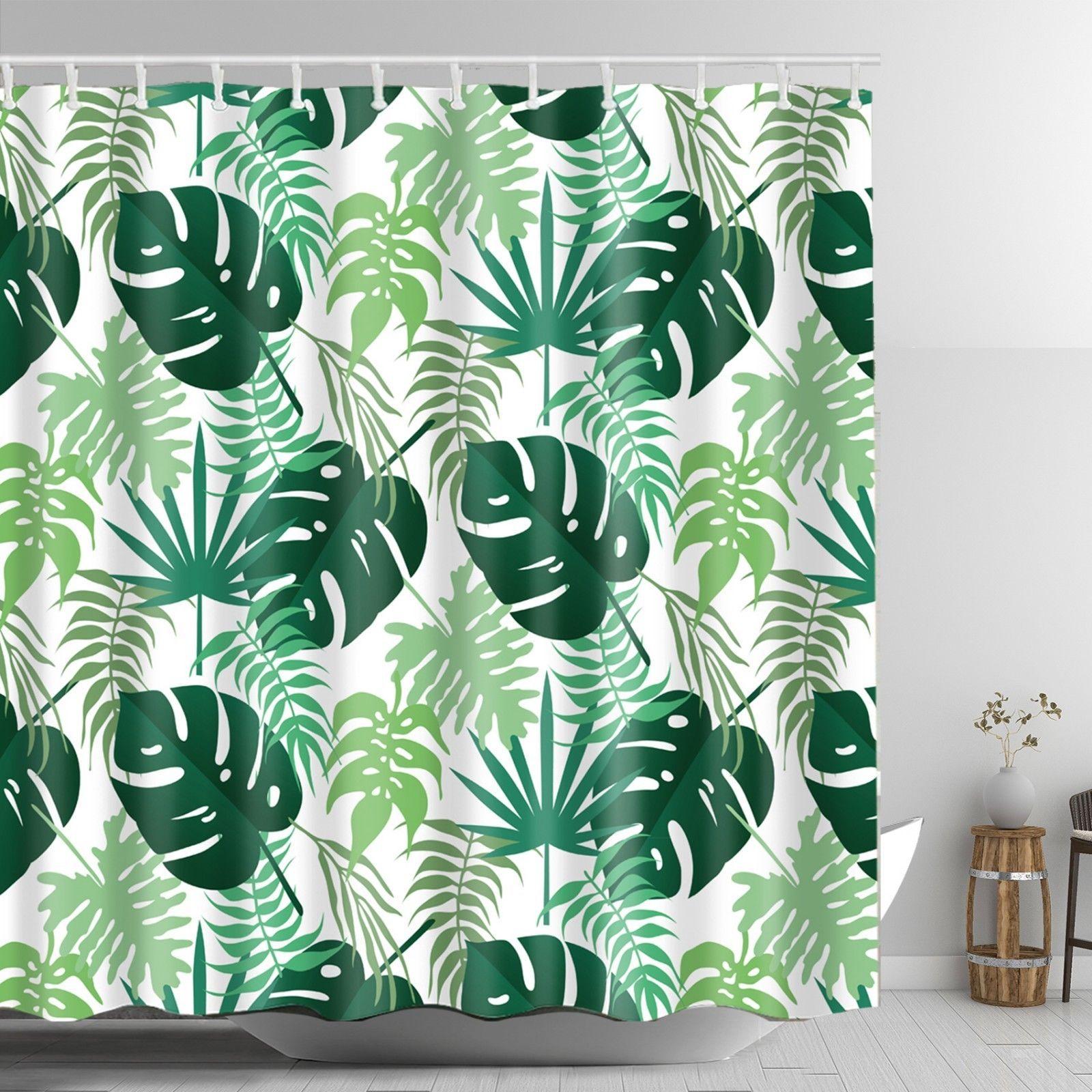 Green Tropical Leaves Shower Curtain Fabric Bathroom Decor Washable With Hooks Bathroom Decor Fabric Shower Curtains Curtains