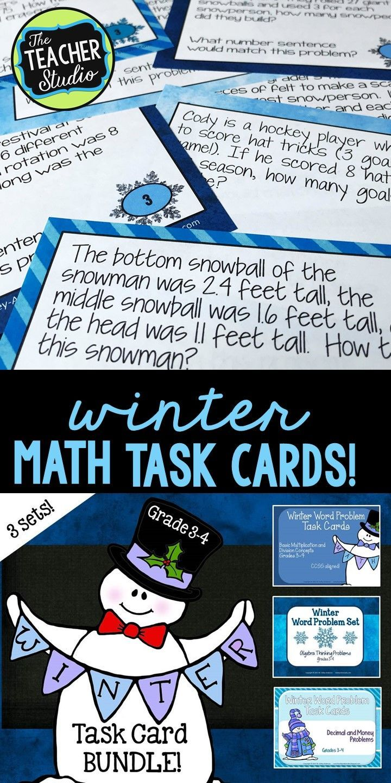 Winter Word Problem Task Card Bundle for Grades 3-4 | Winter words ...