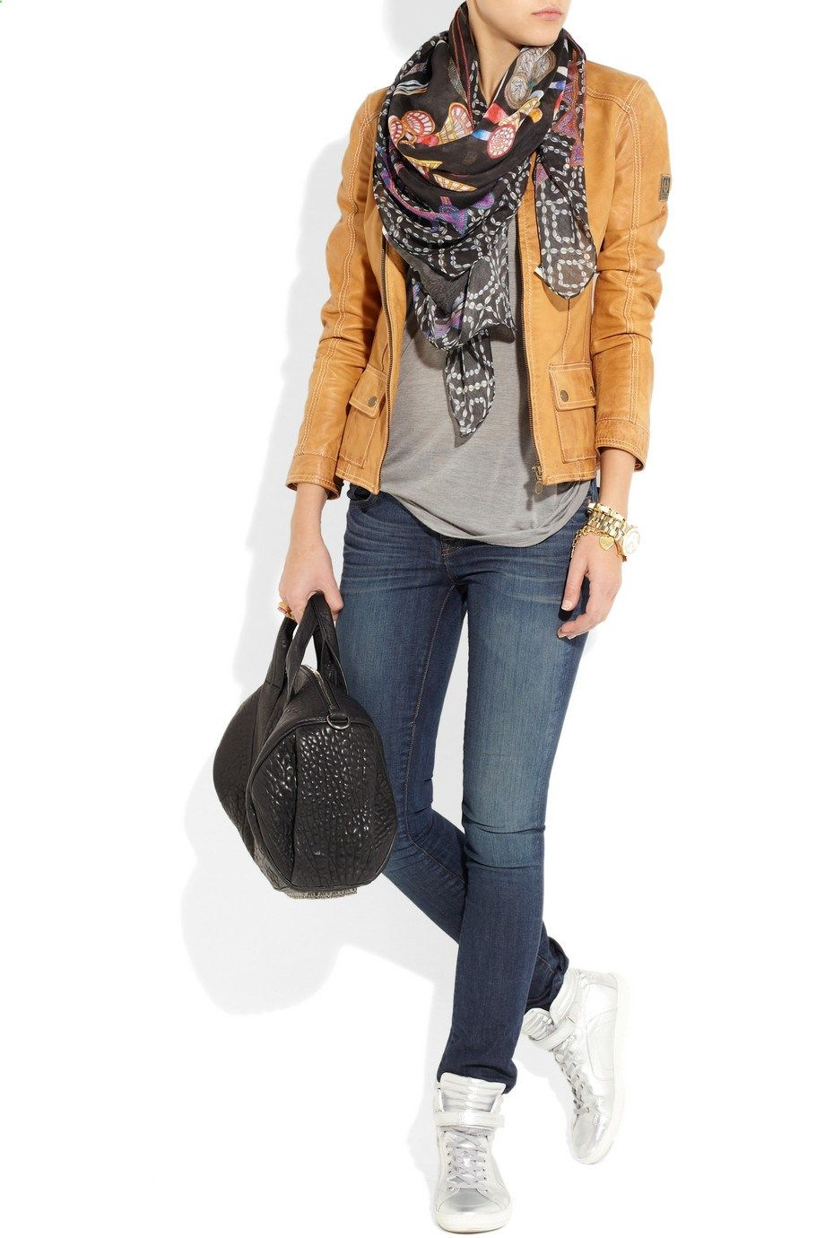 247bb7e5920 Belstaff jacket, Swash scarf, Kain top, J. Brand Denim jeans, Alexander  Wang bag, Pierre Hardy shoes