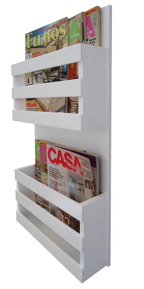 Revisteiro De Parede Porta Revistas Livros Branco Laca