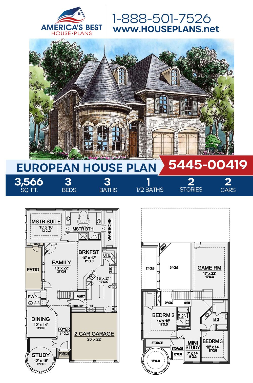 House Plan 5445 00419 French Country Plan 3 566 Square Feet 3 Bedrooms 3 5 Bathrooms In 2021 Mansion Floor Plan House Blueprints Vintage House Plans