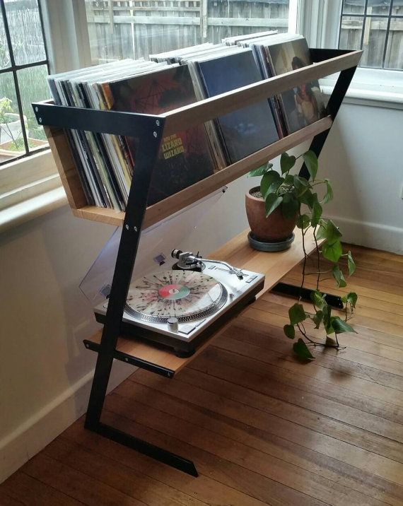 Would be cool to make this, but flip the setup so the turntable is on top - - Record stand by HaydenMelbourne on Etsy