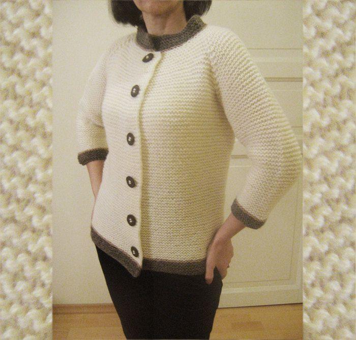 Как связать свитер женский платочной вязкой 7