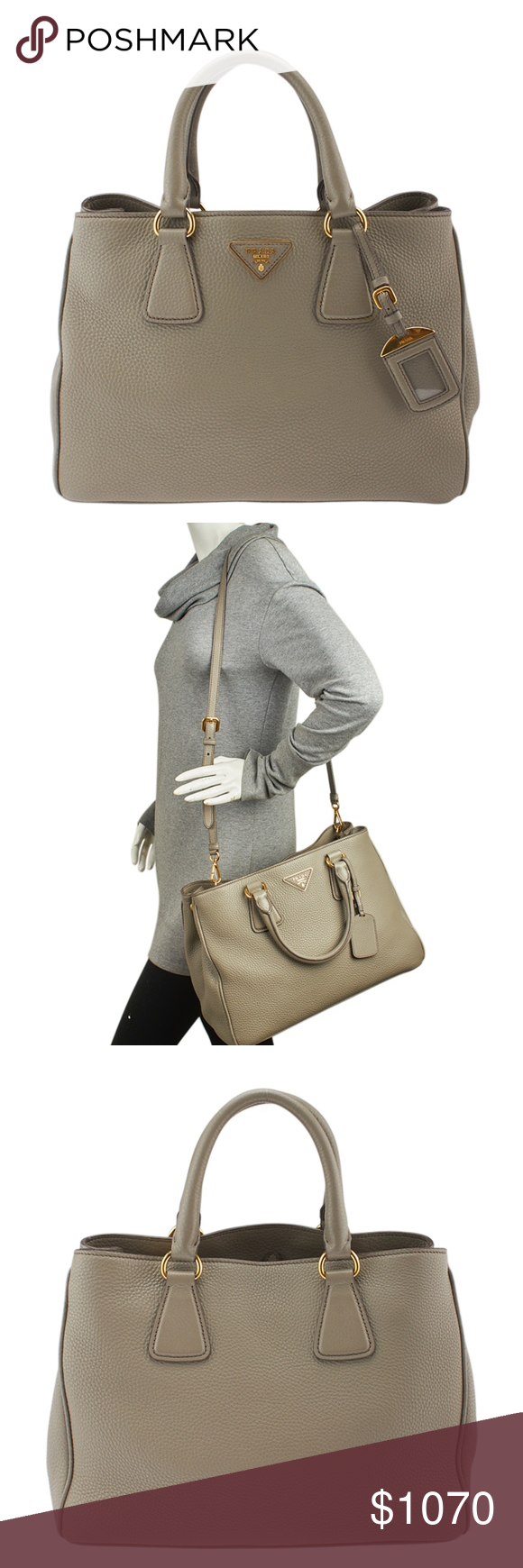 51c0346915 Prada BN2579 Grey Leather 2-Way Bag (138665)