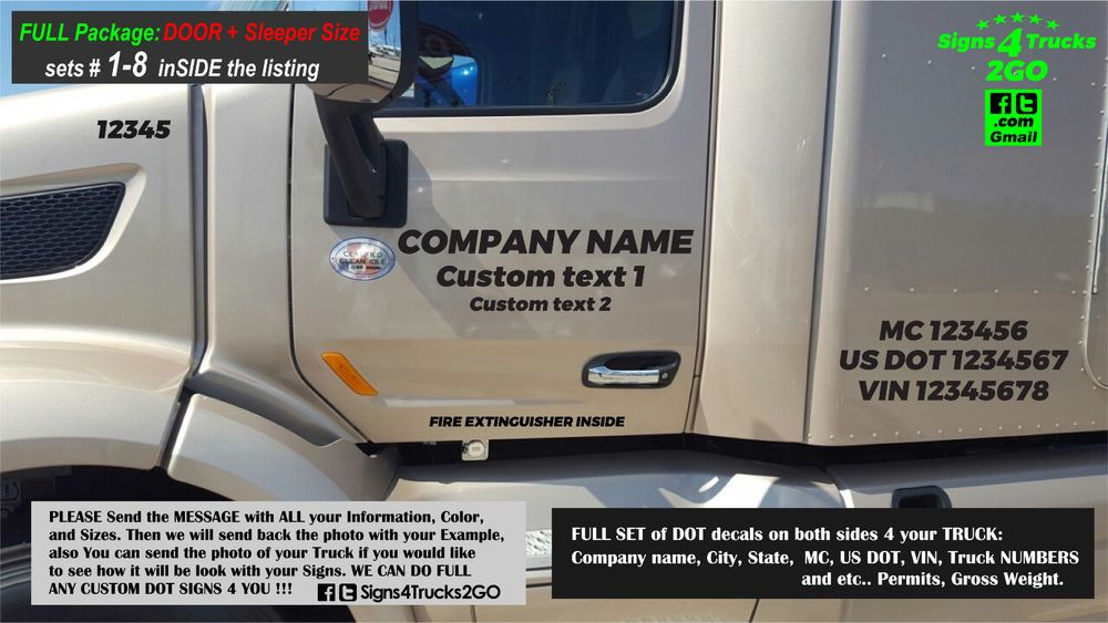 Details About Set  DOT Signs Decals Lettering DOOR Sleeper - Signs of cars with names