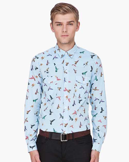 alexander mcqueen print shirt men bird