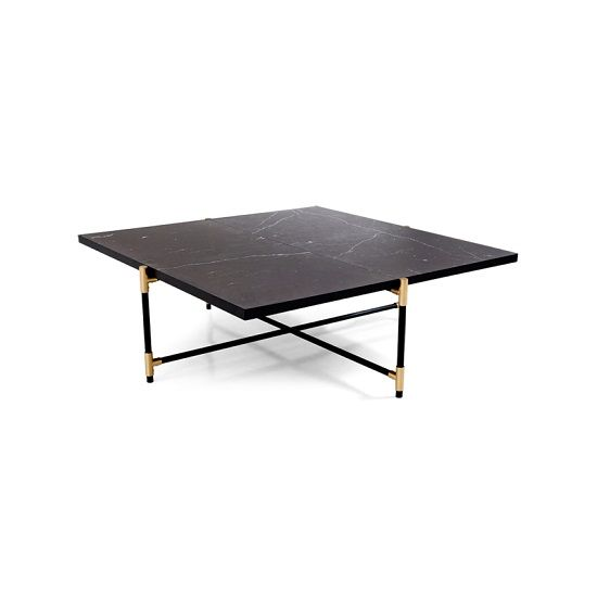 Gemini Coffee Table With A Brass On Black Base And Black Marble Top 899 Contemporary Coffee Table Coffee Table Marble Coffee Table