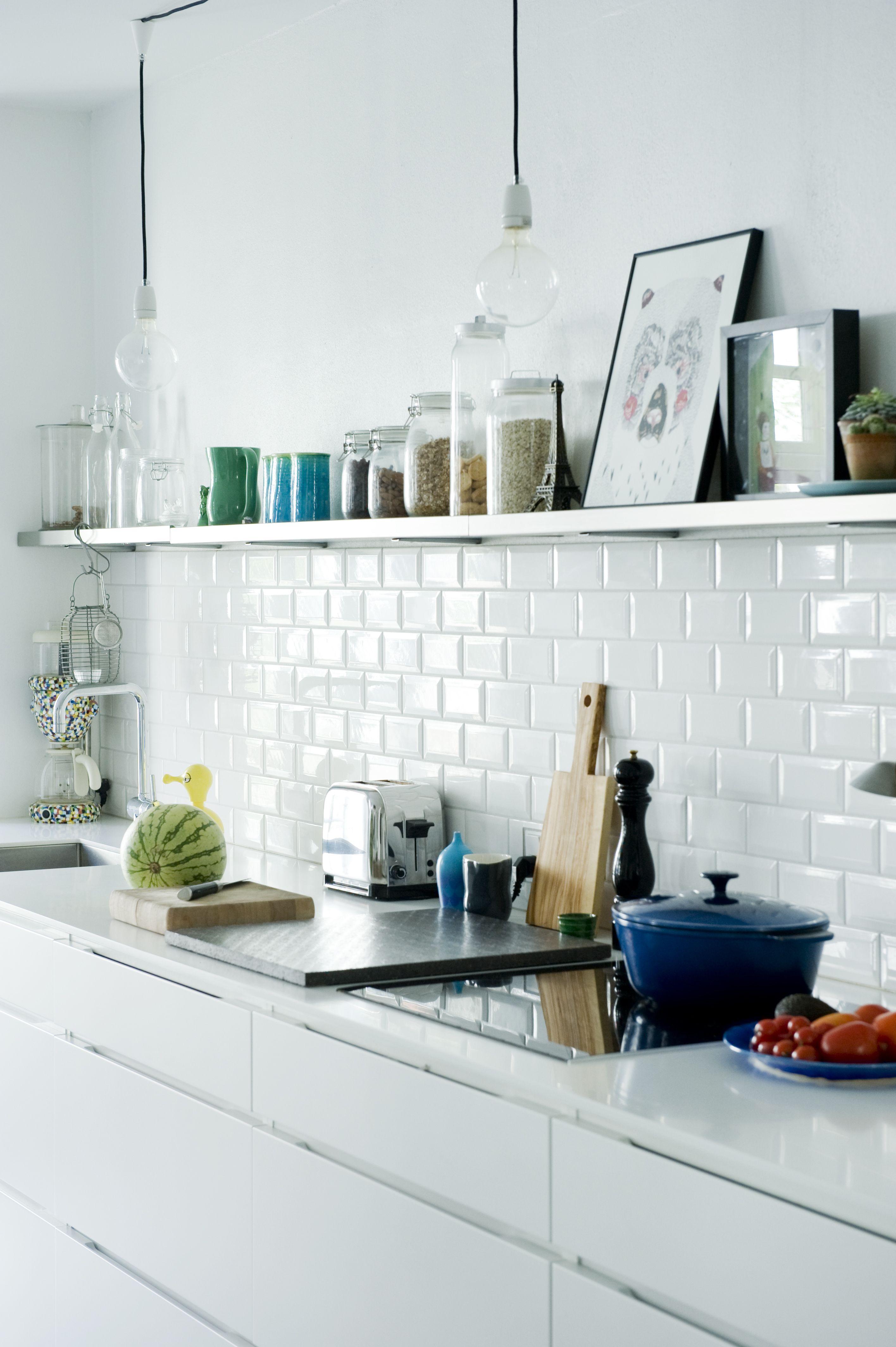 White kitchen, subway tiles, open shelving   Kitchen   Pinterest ...
