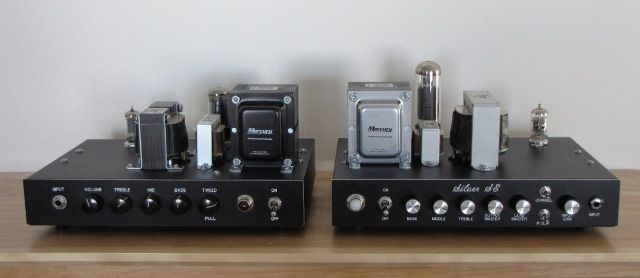 Low power desktop amps. A Champ on the left and a Silver Jubilee on the right.